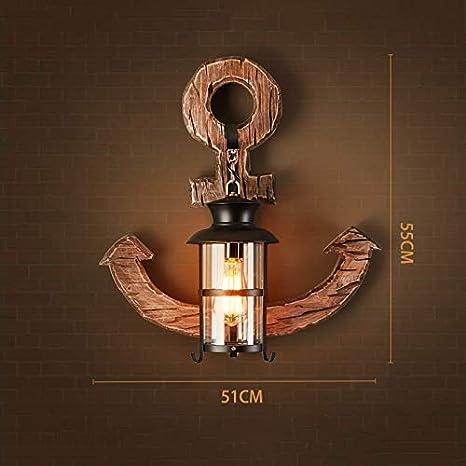 Apliques Iluminación de interior HDMY Vintage Loft E27 Luz de Pared Marinero de Madera Ancla Metal Antiguo Barco Lámpara de Pared de Madera Accesorio Aplique Estilo Industrial Retro para el Hotel en casa Pasillo Restaurante