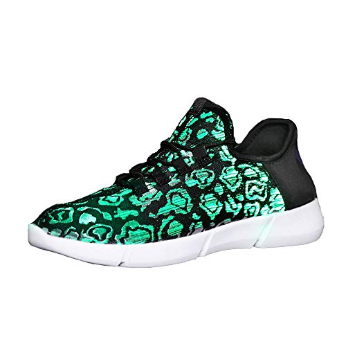 Idea Frames Fiber Optic LED Light Up Shoes for Women Men USB Charging Fashion Sneaker Black -
