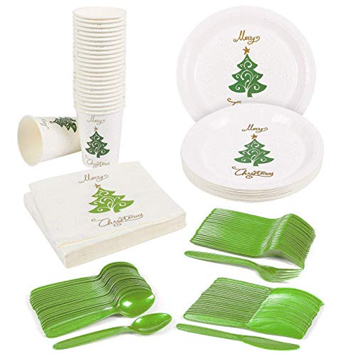 Merry Christmas Party Supplies – Serves 24 – Includes Plates, Knives, Spoons, Forks, Cups and Napkins. Perfect Xmas Tree Design Party Pack for Christmas Themed Parties. ()