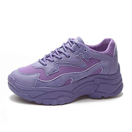 Zapatillas de Deporte de Malla de Las Mujeres Zapatillas de Plataforma cómodas Zapatillas de Cordones Púrpura