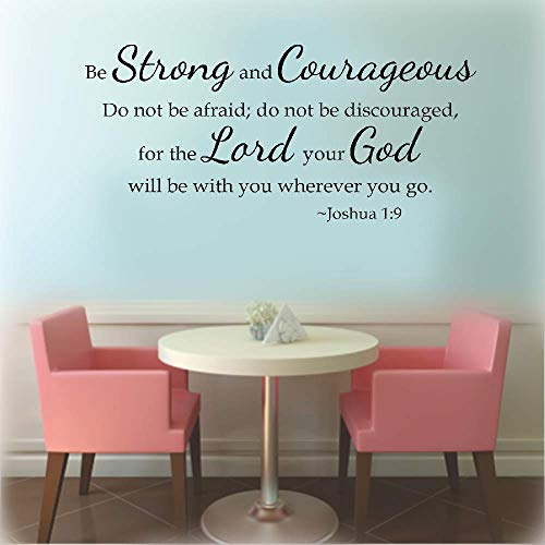 Tile Will Gods (DIY Removable Vinyl Decal Mural Letter Wall Sticker Be Strong and Courageous Do Not Be Afraid for The Lord Your God Will Be with You Wherever You Go for Living Room Bedroom)