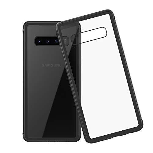 (LOVE MEI Samsung Galaxy S10e case Clear Glass 9H Tempered Glass Back Anti Scratch Shockproof Rugged Hybrid Case Black Flame Soft TPU Corner Protection Cover for Samsung Galaxy S10e)