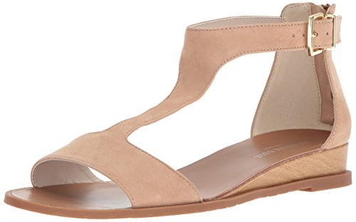 Suede Sandals Kenneth Cole (Kenneth Cole New York Women's Judd Low T-Strap Wedge Sandal, Buff, 7.5 M US)