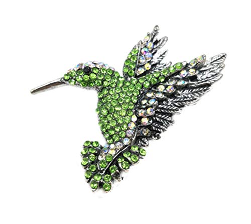 Ahugehome Women Insect Bird Hummingbird Brooch pin Necklace Pendant Fashion Cute Crystal (H Hummingbird Light Green)