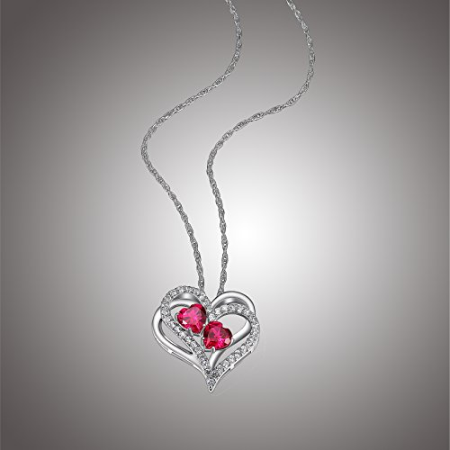 (Sterling Silver Created Ruby and White Sapphire Double Heart Pendant Necklace, 18