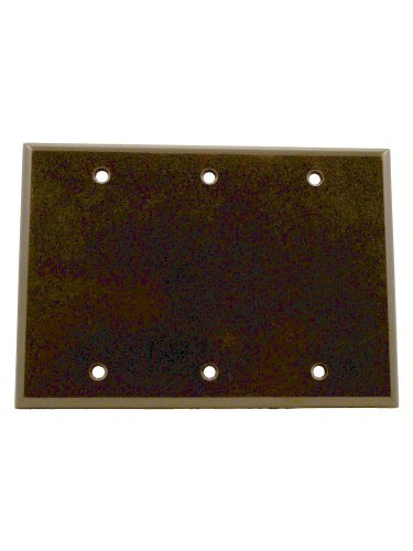 Leviton 85033 3-Gang No Device Blank Wallplate, Standard Size, Thermoset, Box Mount, Brown