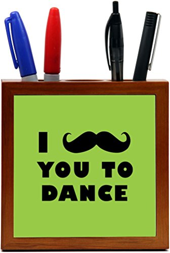 Rikki Knight I Mustache You To Dance Lime Green Color Design 5-Inch Tile Wooden Tile Pen Holder (RK-PH42954) by Rikki Knight