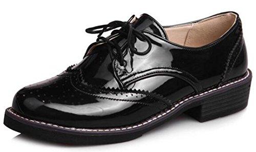 Idifu Womens Doux Bas Top À Bout Rond Lace Up Richelieu Chaussures À Talons Noirs
