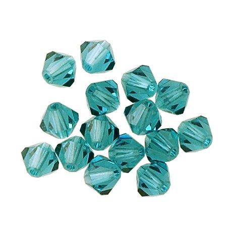 100 pcs 4mm Swarovski 5301 Crystal Bicone Beads, Blue Zircon, -