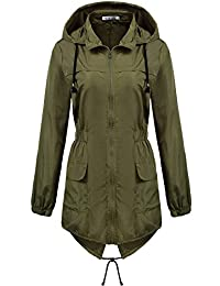 Macr&Steve Womens Lightweight Hooded Waterproof Active Outdoor Rain Jacket