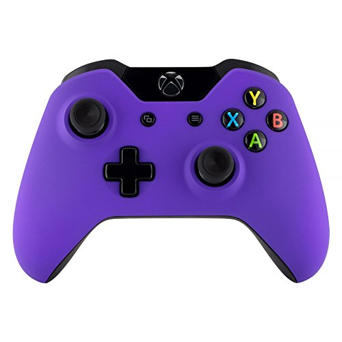 eXtremeRate Custom Design Unique Top Shell Case Front Housing Replacement Faceplate Kits for Xbox One Remote Controller Cover (Soft Touch Purple)