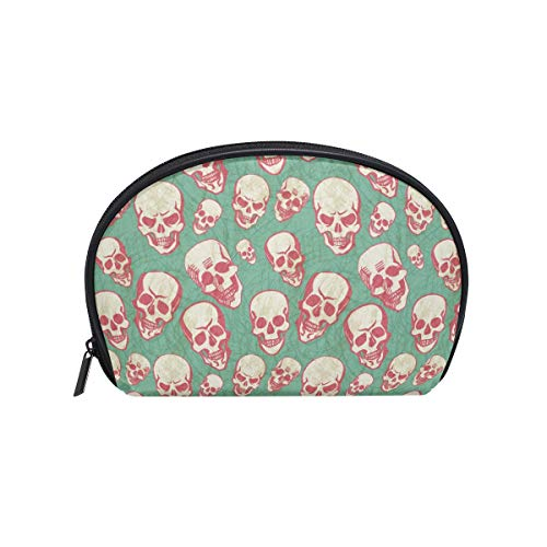 Half Moon Cosmetic Beauty Bag Halloween Skull Travel Handy Organizer Pouch Novel Cosmetic -