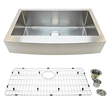 Ordinaire Auric Sinks 36u0026quot; Stainless Steel Farmhouse Sink, 6u201d Retro Fit Curved  Short
