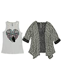 "Pink Velvet Big Girls' ""Stacked Heart"" 2-Piece Top with Necklace"