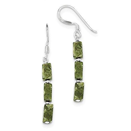 14k Serpentine Earrings - Sterling Silver Green Russian Serpentine Stone Earrings