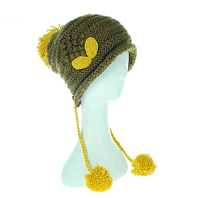 Damara Girls Knit Crochet Hat Cap Ear Flap Earmuff Warm Winter (Light Brown)