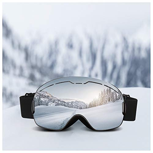 ROGSFN Anti-Fog ski Goggles for Men Womens & Youth Skiing Frameless Over Mirrored Glasses Helmet Compatible UV Protection,Cool Winter Sport Snowboard Goggles-Black Frame Silver Lens