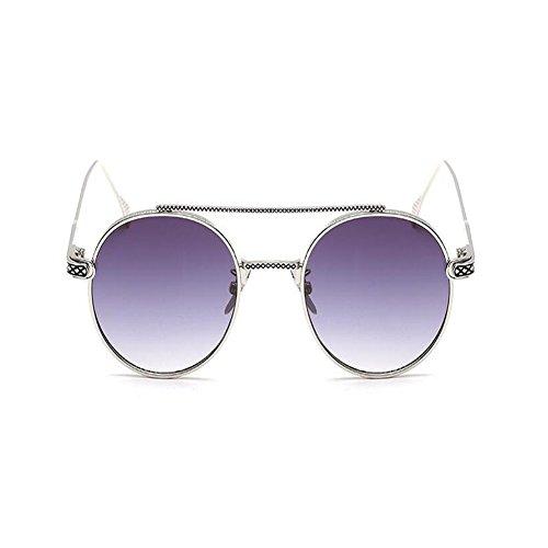 Vigas Espejo Nariz Clásico sol Gris o Unisex Metal Mujer plata UV400 de Hombre Moda Marco Vintage Redondas Xinvision Gafas zHfwqn