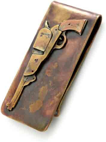 Artisan-Crafted Bronze Money Clip with Colt Revolver Gun Design, American Made