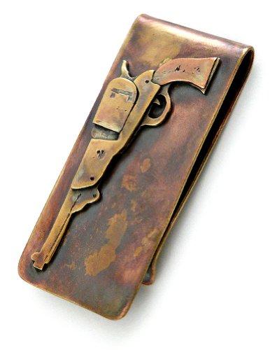 Artisan-Crafted Bronze Money Clip with Colt Revolver Gun Design, American Made (Revolver Design)