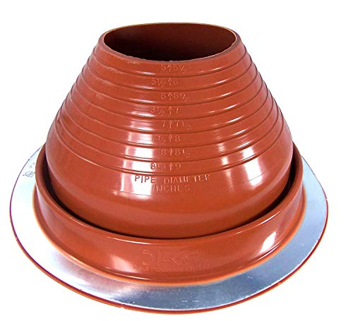 6 High Base (Dektite #6 Red Silicone Metal Roof Pipe Flashing, High Temp, Round Base, Pipe OD 5