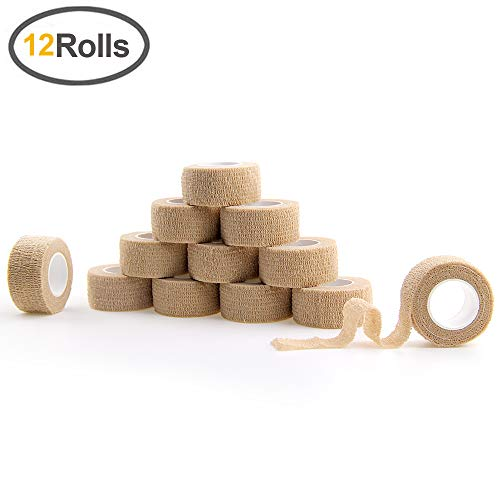 MUEUSS Self Adherent Cohesive Wrap Bandages Strong Elastic for Sprain Swelling and Soreness on Wrist and Ankle First Aid Tape 1 Inch X 5 Yards 2.5cm (Beige, 12 Roll)