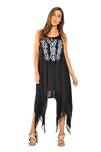 21610-BLK-XL Riviera Sun Fringe Dress / Sundresses for Women