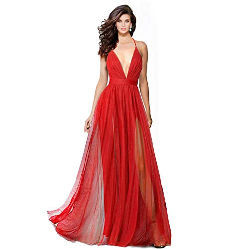 Alluring deep v-Neckline Spaghetti Straps Criss-Cross Open Back Tulle Dual Front Slits Evening Prom Formal Dress (Red, Extra Express Shipping fee) -