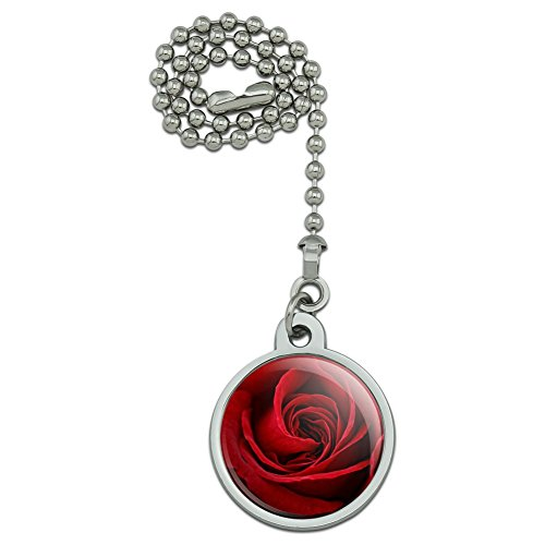 Red Rose Close-up Ceiling Fan and Light Pull Chain