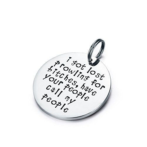 Id My Pet Tag Dog (Udobuy Funny Pet Tag, Funny Dog Tag, Stainless Steel Pet Tags, Dog Collar Tag, Prowling for Bitches)