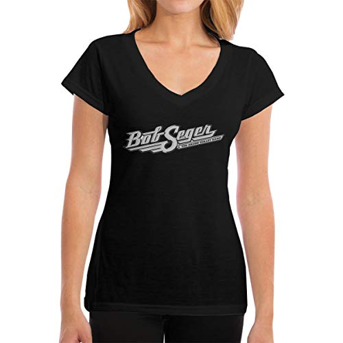 Fional Womens V-Neck T-Shirt Bob-Seger-The-Silver-Bullet Summer Printed Short Sleeves Cotton Casual Tops ()