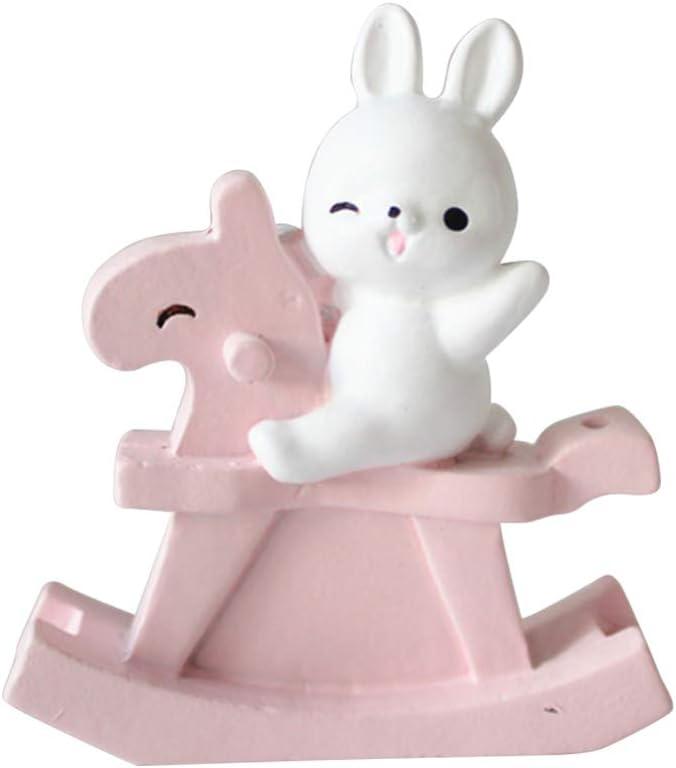 Garneck Decoración de Pasteles para Hornear Resina Conejo Caballo Mecedora Decoración del Hogar Artesanías Adornos Decoración (Rosa)