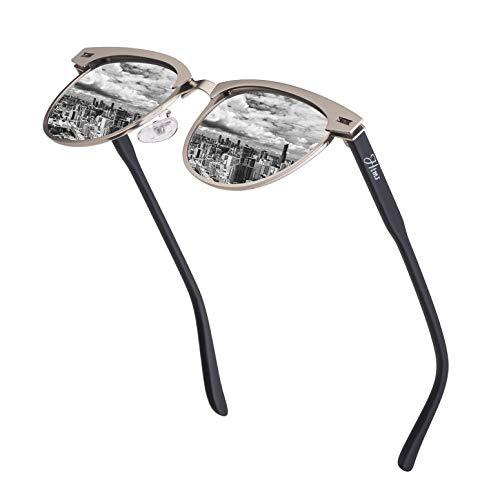 Vintage Semi Rimless Polarized Sunglasses for Men Women Stylish Brand Design Sun Glasses Metal Retro Half Frame Eyewear (Best Quality Sunglasses Brands)