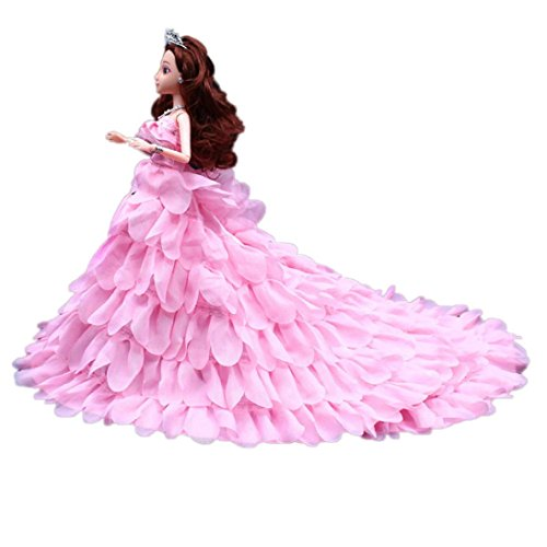 Digood For American Barbie Girl Doll Cute Princess Wedding Party Gown Tutu Dress Clothes (Pink B)