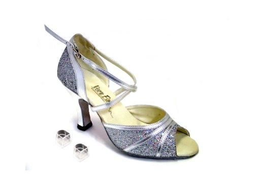 Zapatos Muy Finos Ek6023 De La Danza De Salón De Señoras De Las Señoras Con El Borde Plateado Y Plata De Sparklenet De 2.5 Talones