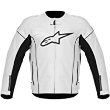 Alpinestars Mens TZ-1 Reload Perforated Leather Motorcycle Jacket White 58