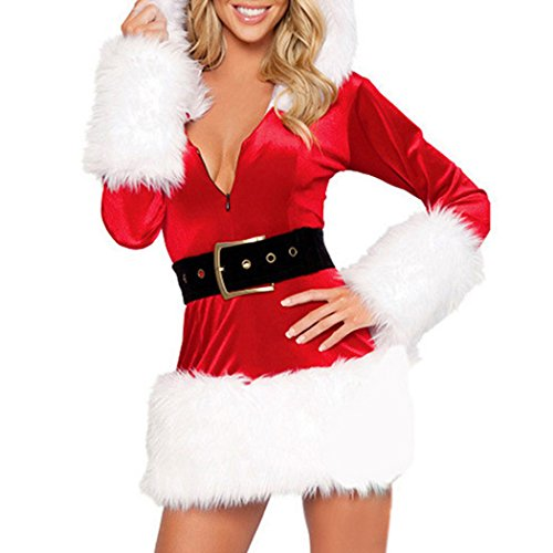 MIOIM Women's Christmas Sexy Santa Miss Claus Luxury Suit Cosplay Costume Outfit Sweetie Halloween Party Dress Red (Santa Suit Miss)