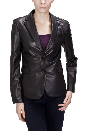 United Face Womens Lambskin Black Leather Blazer Small (Lambskin Blazer Coat)