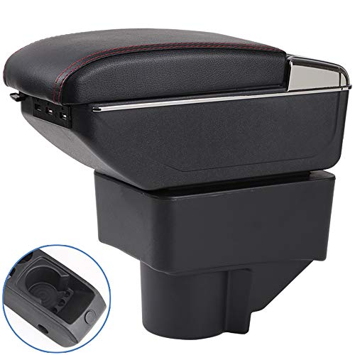 Oneuda Centre Console Storage Box for Ford Fiesta Armrest Box Ford Fiesta Universal Armrest Retractable Car Accessories (Double Rise with USB)