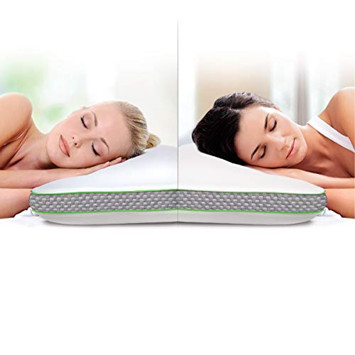 SHARPER IMAGE Select A Side Molded Memory Foam Pillow, Contoured Design for Support, Dual Soft/Firm Construction, Temperature Sensitive W/Infused Cooling Foam, Ergonomic, Washable ()