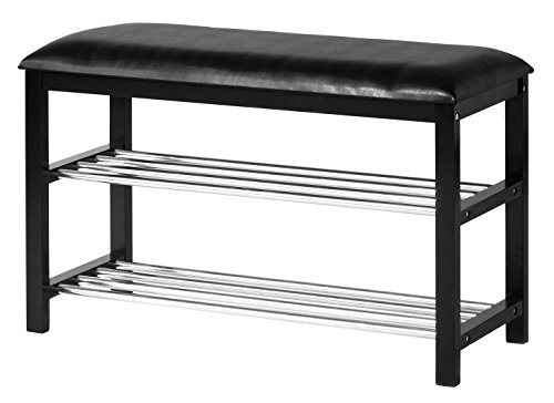 Orolay Hallway Shoe Rack Organizer with Upholstered Seat ZHXD18 L80cm Black