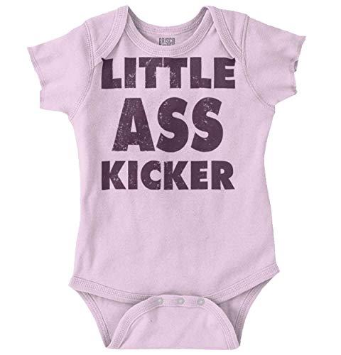 Little Butt Kicker Funny Zombie Show Quote Romper Bodysuit Pink