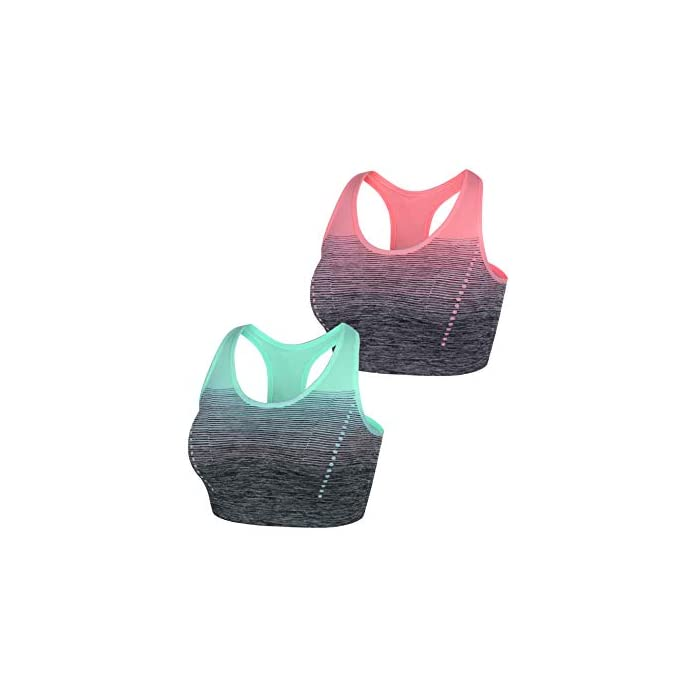 418G3c3ReUL 🌟【Fabric Tejido de alta calidad】 Hecho de 90% Nylon, 10% Spandex, proporciona un tacto suave y acogedor de la piel, el material elástico y transpirable protege su busto de dolores y herméticos en los ejercicios. 🌟【Design Diseño elegante】 El sujetador acolchado, el dobladillo ancho y las correas brindan un fuerte soporte para su busto y tienen una mayor capacidad de impacto cuando está en ejercicios, el diseño de rampa de gradiente / color de contraste muestra más energía. 90% Poliamida, 10% Elastano