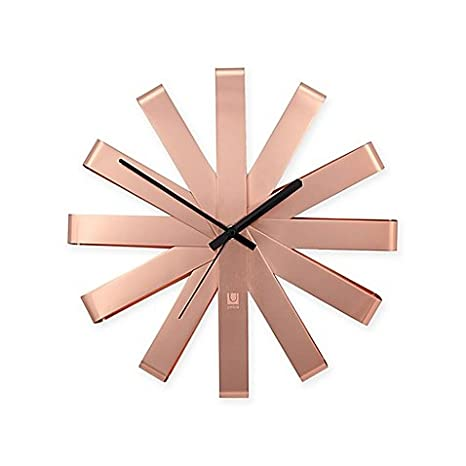 Umbra RIBBON - Reloj de pared de acero inoxidable en cobre ...