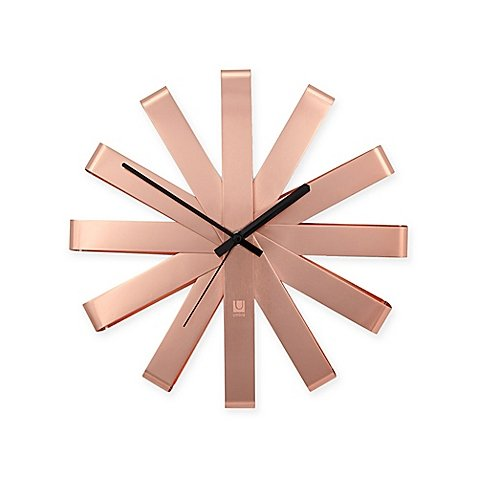 Umbra Ribbon Stainless Steel Wall Clock in Copper - red wall art