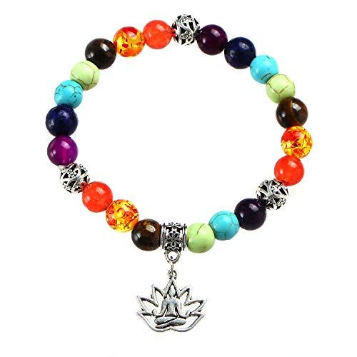 - Lava Rock 7 Chakra Diffuser Lotus Yoga Bracelet Stretch Bracelet with Tree of Life Pineapple Lotus OM Hamsa Symbol Charm (D: Lotus-7 Chakras)
