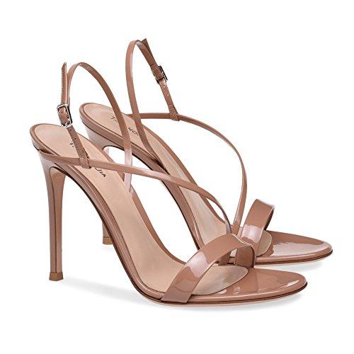 XUE Femmes Chaussures PU t Base Pompe de Mariage Chaussures Talon Aiguille Peep Toe Boucle fonc Noir Brown Party & Soire/Robe Formal Business Travail de Mariage (Couleur : Une, Taille : 38) C