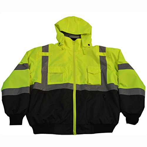 Petra Roc LBBJ-C3-2X ANSI Class 3 Waterproof Bomber with Removable Fleece Liner Jacket, XX-Large, Lime/Black