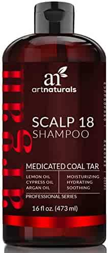 ArtNaturals Dandruff Shampoo, Coal Tar with Argan Oil, Scalp18 Therapeutic Treatment Helps Anti-Itchy Scalp, Clear Symptoms of Psoriasis, Eczema, Natural and Organic, Sulfate Free, 16 oz.