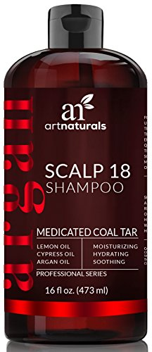 [ArtNaturals Dandruff Shampoo, Coal Tar with Argan Oil, Scalp18 Therapeutic Treatment Helps Anti-Itchy Scalp, Clear Symptoms of Psoriasis, Eczema, Natural and Organic, Sulfate Free, 16 oz.] (Coal Tar Shampoo)